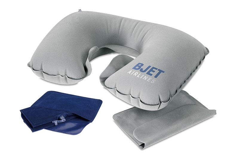 Cuscino poggia testa gonfiabile in velluto, personalizzabile con LOGO