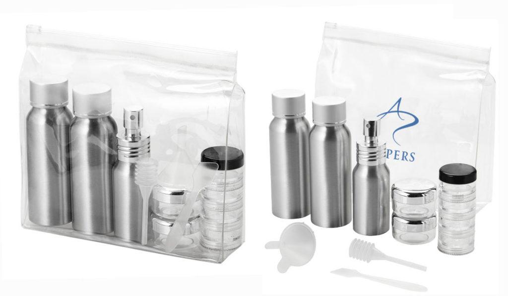 Set di flaconi da viaggio in alluminio, approvati dalle compagnie aeree