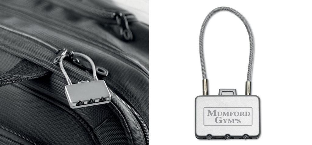 Lucchetto a forma di valigia con chiusura a tre cifre.