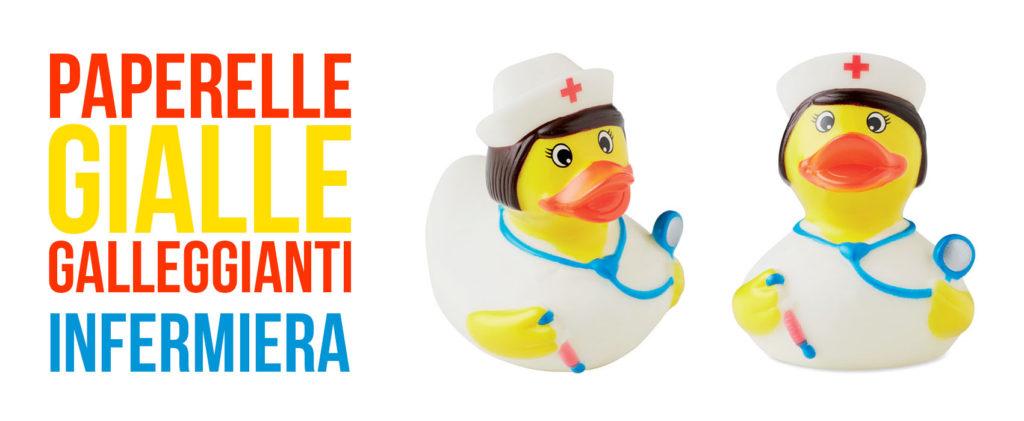 Paperella gialla galleggiante a forma di infermiera, da vasca da bagno. Misure medie 8x8 centimetri.