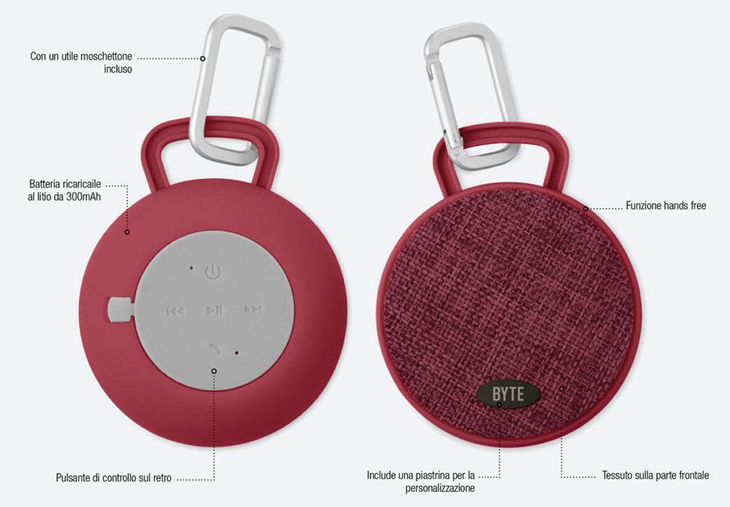 Cassa speaker bluetooth tonda con rivestimento in tessuto