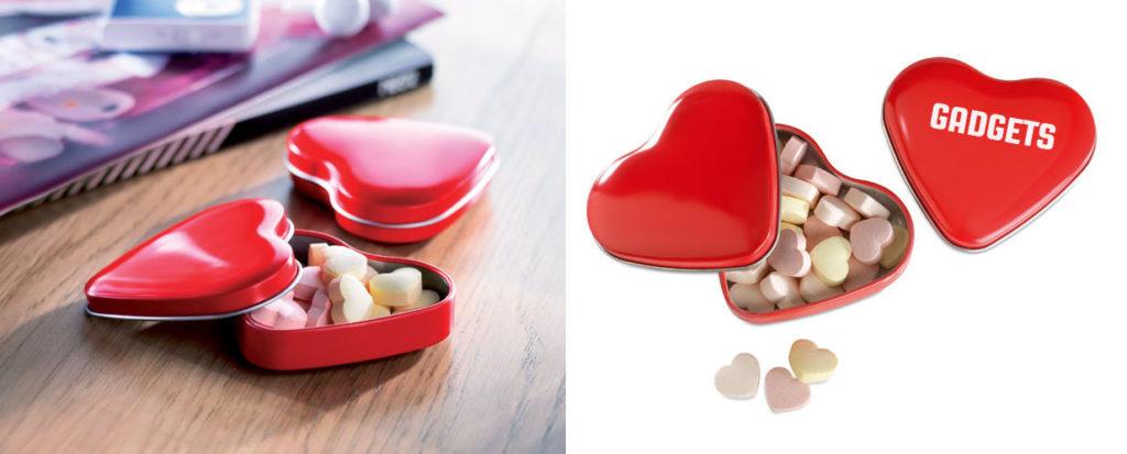 Scatola caramelle in metallo a forma di cuore, personalizzabile con LOGO