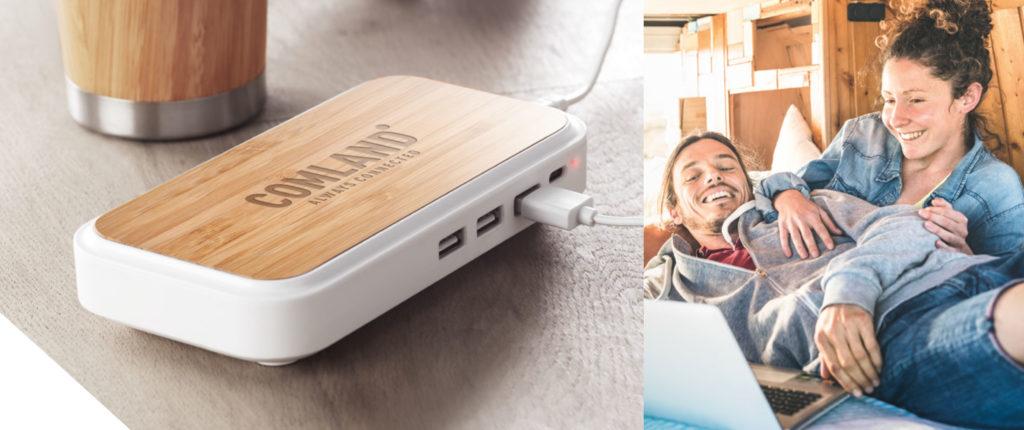 Caricatore wireless in legno personalizzato
