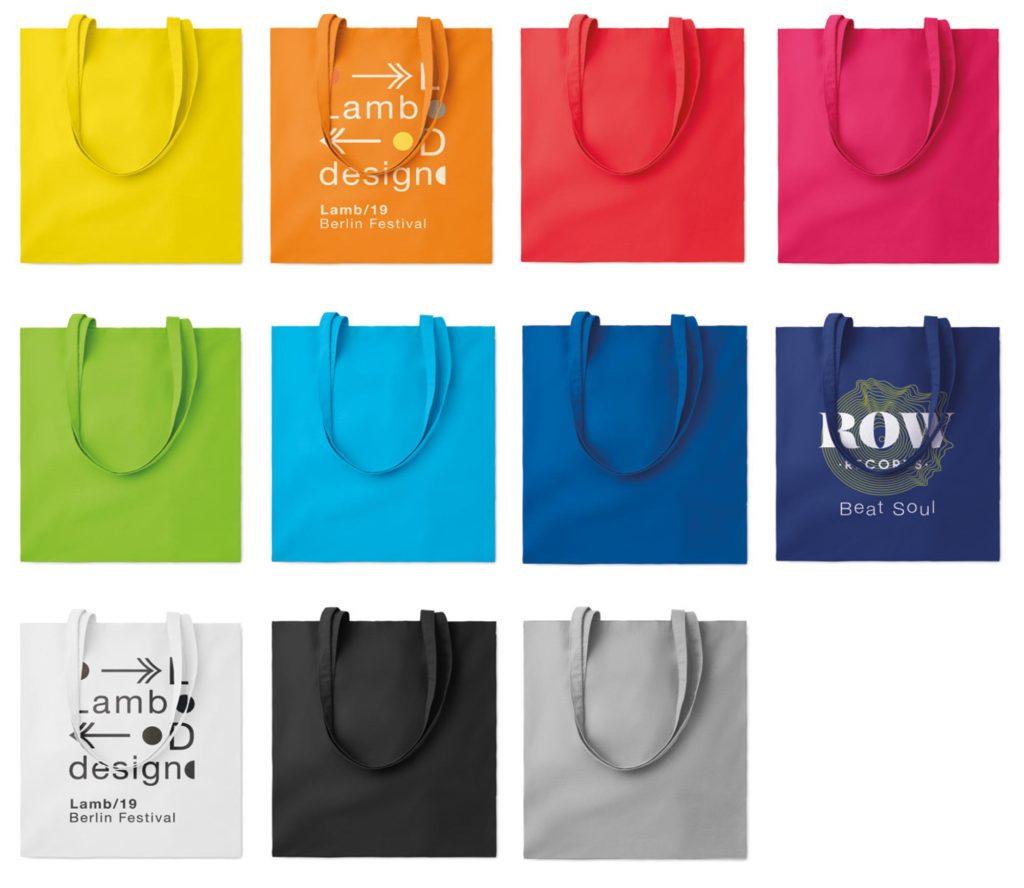 Borse in cotone personalizzate colorate