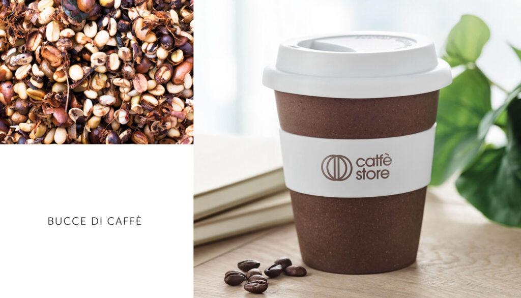 tazze eco ottenute dalle bucce del caffè