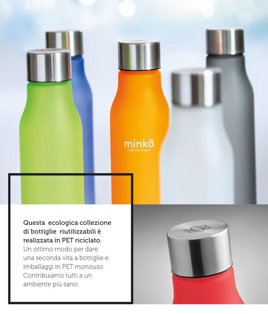 Bottiglia in RPET in acciaio inossidabile e finitura gommata