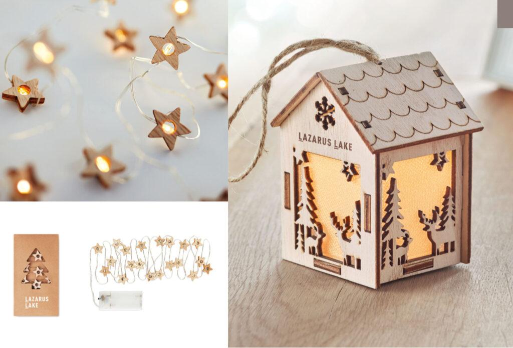 Casetta di Natale in legno con luce interna